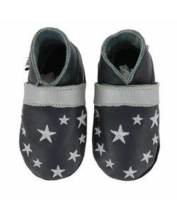babyslofjes blauw met zilveren sterren