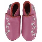 Oxxy babyslofjes roze met zilveren hartjes
