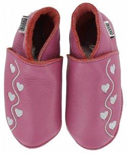 babyslofjes roze met zilveren hartjes