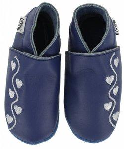 babyslofjes blauw met zilveren hartjes