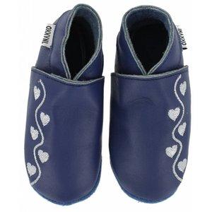 Oxxy babyslofjes blauw met zilveren hartjes