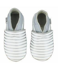 babyslofjes wit zilver gestreept
