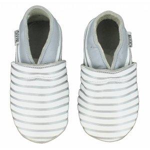 Oxxy babyslofjes wit zilver gestreept