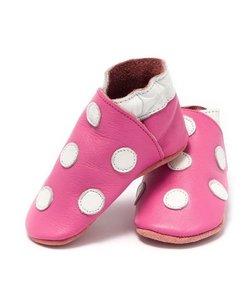 babyslofjes roze met witte stippen