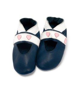 babyslofjes open hartjes blauw