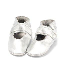 Leren babyslofjes open zilver, Baby Dutch