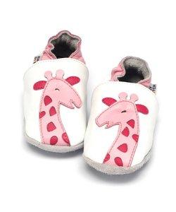 Leren babyslofjes giraf roze, Baby Dutch