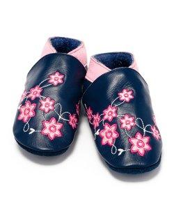 Leren babyslofjes bloem marine, Baby Dutch