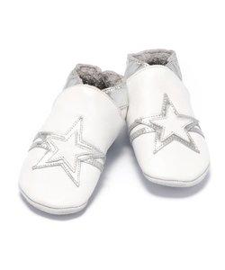 babyslofjes wit zilver ster