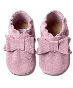 Babyslofjes roze suede met strik