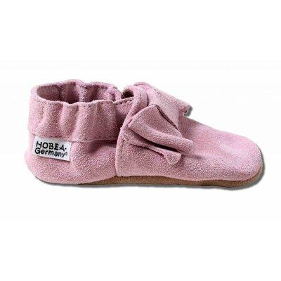 Hobea Babyslofjes roze suede met strik