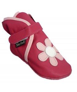 babyslofjes Wrapz fuchsia met roze bloem