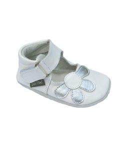 babyslofjes Amanda wit met zilveren bloem