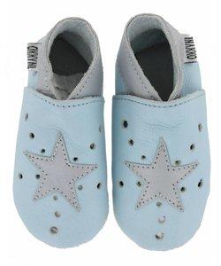 babyslofjes open ster lichtblauw zilver