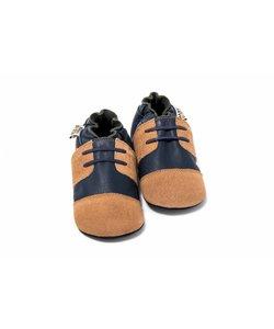 Babyslofjes schoentje blauw suede cognac