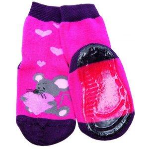 Ewers anti-slip sokken Stoppi muis fuchsia