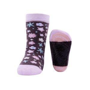 Ewers anti-slip sokken Stoppi bloemen allover bruin