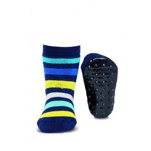 Ewers anti-slip sokken Stoppi strepen marine geel