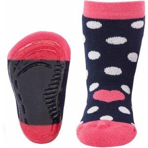 Ewers antislip sokken Stoppi dots marine/roze