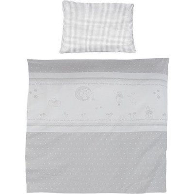 4 delig wiegenset/beddenset( kussen, deken, hemeltje, bedrandbeschermer) 100x35 engeltje op de maan