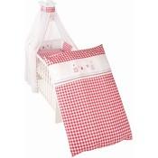 4 delig wiegenset/beddenset( kussen, deken, hemeltje, bedrandbeschermer) 100x35 rood ruitje