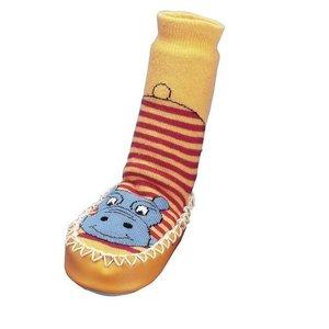 Playshoes soksloffen nijlpaard oranje rood