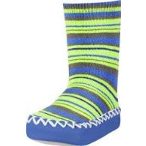 Playshoes soksloffen gestreept groen/blauw