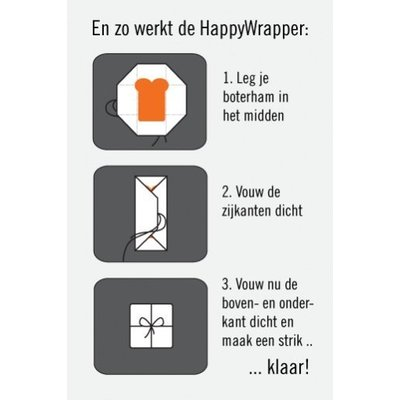 Poppedop HappyWrapper red orange broodtrommel