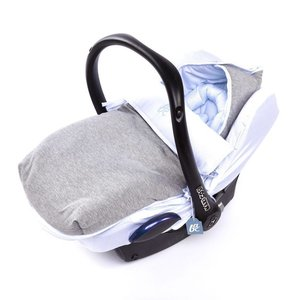 Baby Anne-Cy voetenzak met autostoelhoes jogging grijs blauw streep