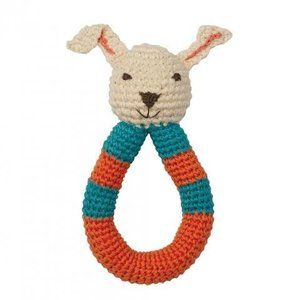 Peppa rammelaar bio katoen Rabbit Red Blue