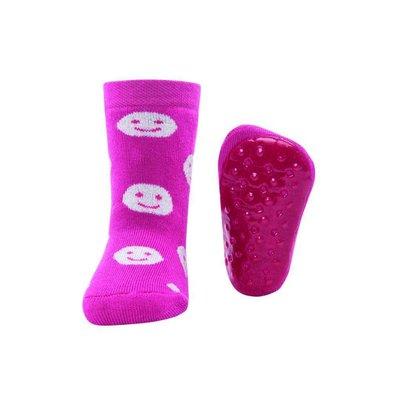 Ewers anti-slip sokken Stoppi smileys fuchsia Op=Op