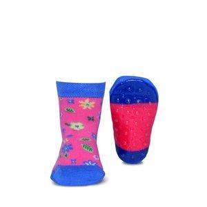 Ewers anti-slip sokken Stoppi bloemetjes roze