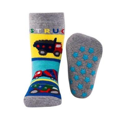 Ewers anti-slip sokken Stoppi bouwwagens grijs