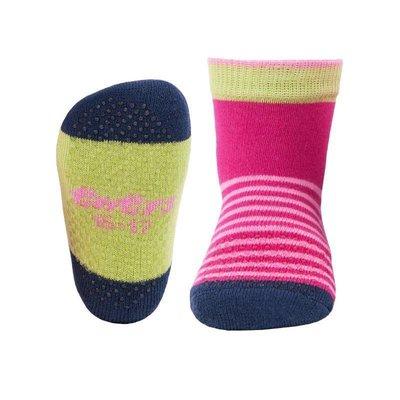 Ewers anti-slip sokken krabbelfix streepjes fuchsia