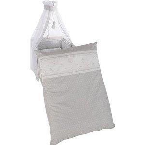 Roba 4 delig wiegenset/beddenset( kussen, deken, hemeltje, bedrandbeschermer) 100x35 engeltje op de maan