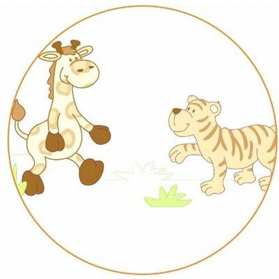 Roba 4 delig wiegenset/ beddenset safari: kussen, deken,bedrandbeschermer, hemeltje 100x35