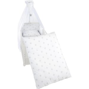 4 delig wiegenset/beddenset( kussen, deken, hemeltje, bedrandbeschermer) 100x35 sterren