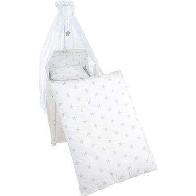 Roba 4 delig wiegenset/beddenset( kussen, deken, hemeltje, bedrandbeschermer) 100x35 sterren