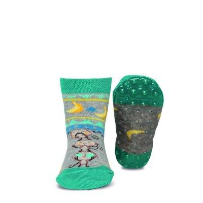 Ewers anti-slip sokken Stoppi aapje met bananen aqua