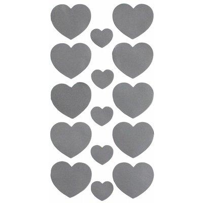 Reflector set voor buggy, kleding etc ★ 15 stickers in Zilver... harten