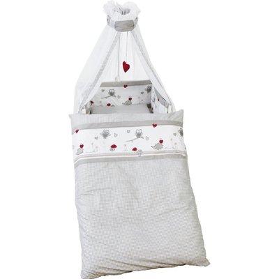 Roba 4 delig wiegenset/beddenset( kussen, deken, hemeltje, bedrandbeschermer) 100x35 rood ruitje