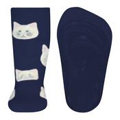 Ewers anti-slip sokken Stoppi softstep poesjes blauw