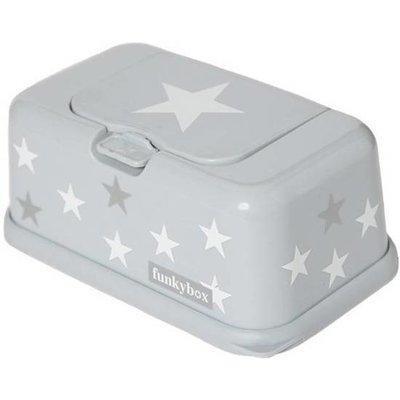 Funkybox - Billendoekjes Doosje - Grijs met wit/zilveren sterren