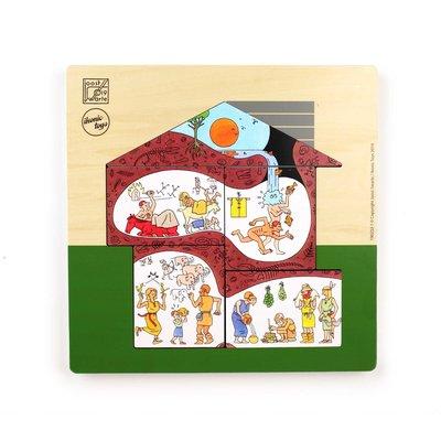 Ikonic Drie-laagse houten puzzel met geweldige illustraties van Joost Swarte. Twee lagen zijn dubbelzijdig, full colour bedrukt.