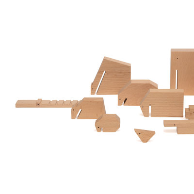 Ikonic Floris Hovers Wooden Animals - set van 13 houten dieren, ongelakt