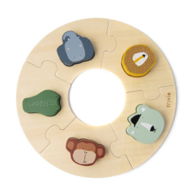 Trixie trixie houten ronde puzzel dieren