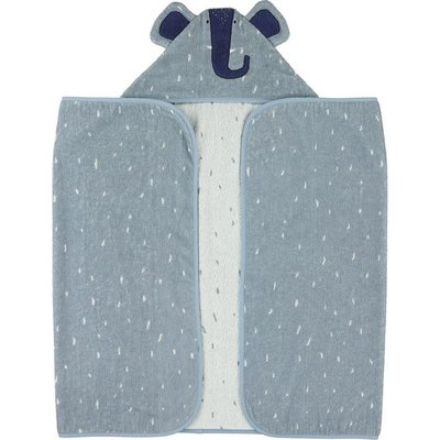 trixie Trixie  Hooded towel , 70x130cm Mrs. Elephant Blauw