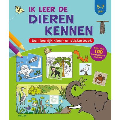 Deltas Ik leer de dieren kennen, een leerrijk kleur- en stickerboek