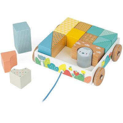 Janod Houten speelgoed - Pure - Blokkenkar