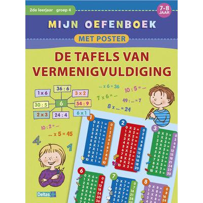 Deltas Mijn oefenboek met poster - de tafels van vermenigvuldigen  (7-8 jaar)